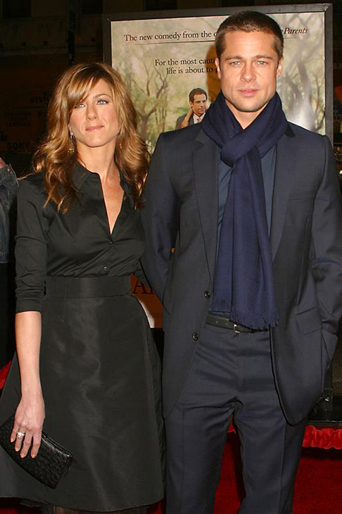 Brad Pitt and wife Jennifer Aniston attend the 2004 Golden Globe Awards at the Beverly Hilton hotel in Beverly Hills, California on Jan. 25, 2004. They divorced in 2005.
