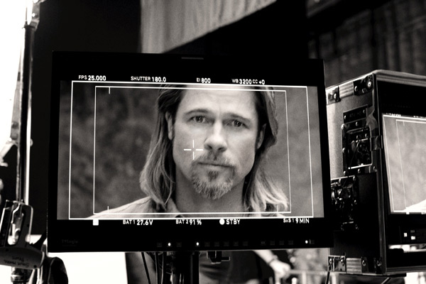Brad Pitt appears in a behind-the-scenes photo for Chanel No. 5's 2012 ad campaign.