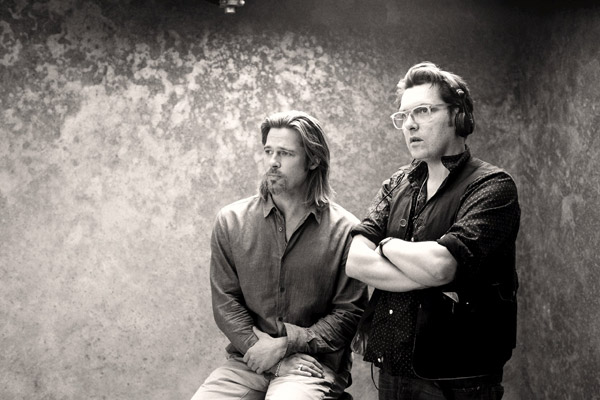 Brad Pitt and director Joe Wright appear in a behind-the-scenes photo for Chanel No. 5's 2012 ad campaign.