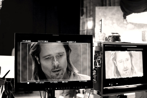 Brad Pitt appears in a behind-the-scenes photo for Chanel No. 5's 2012 a