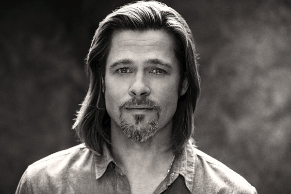 Brad Pitt appears in a behind-the-scenes photo for Chane