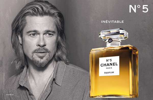 Brad Pitt appears in an official photo for Chanel No