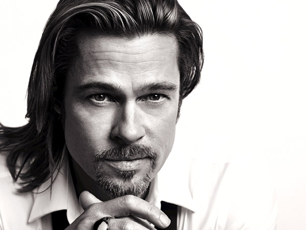 Brad Pitt appears in an official photo for Chanel No. 5's 2012 ad campaign.
