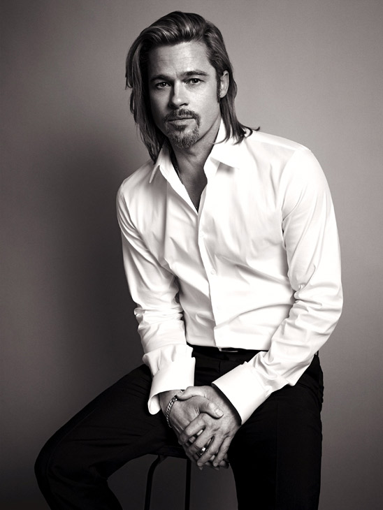 Brad Pitt appears in an official photo for Chanel No. 5's 2012 ad camp