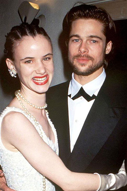 Brad Pitt and girlfriend Juliette Lewis attend the 1992 Oscars in Los Angeles on March 30, 1992.