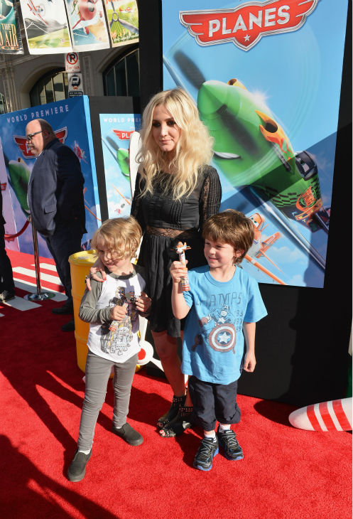Ashlee Simpson, son Bronxi Mowgli and a guest attend the premiere of Disney's 'Planes' film at the El Capitan Theatre in Hollywood, California on Aug. 5, 2013.