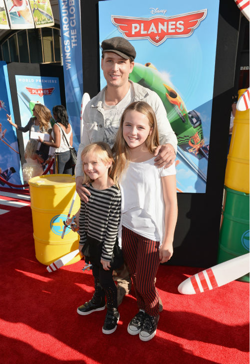 'Twilight' actor Peter Facinelli and his daughters attend the premiere of Disney's 'Planes' film at the El Capitan Theatre in Hollywood, California on Aug. 5, 2013.