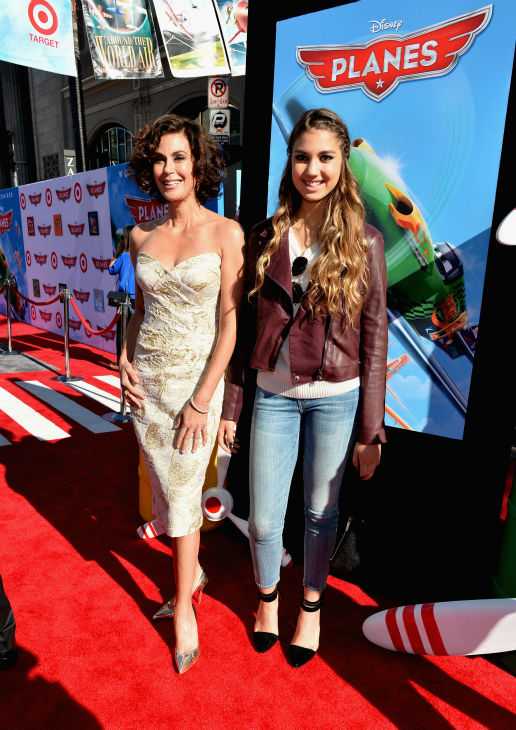 Teri Hatcher and daughter Emerson Tenney attend the premiere of Disney's 'Planes' film at the El Capitan Theatre in Hollywood, California on Aug. 5, 2013.