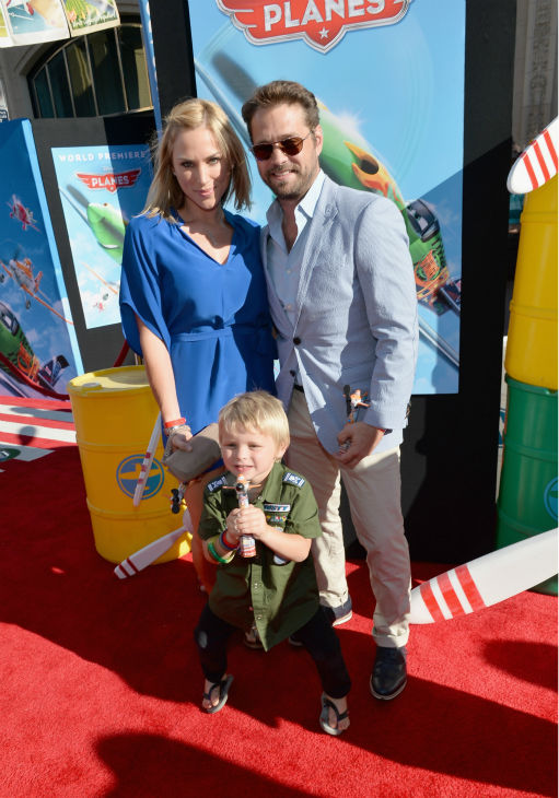 'Beverly Hills, 90210' alum Jason Priestley (R), wife Naomi Lowde-Priestley and son Dashiell Orson Priestley attend the premiere of Disney's 'Planes' film at the El Capitan Theatre in Hollywood, California on Aug. 5, 2013.