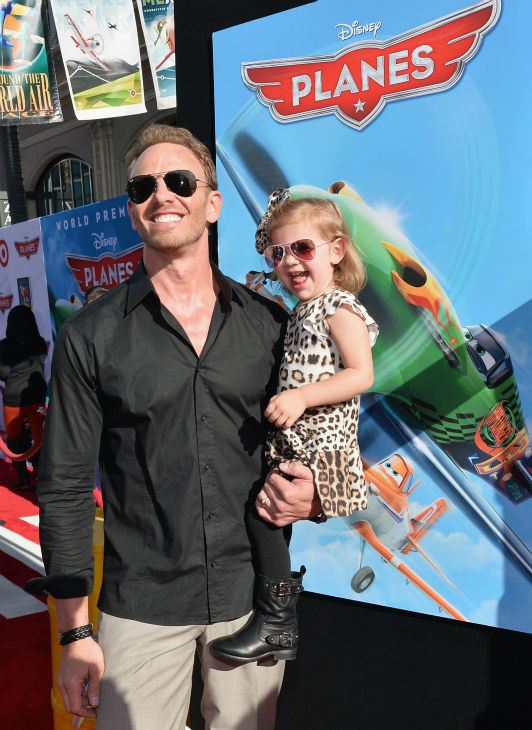 Ian Ziering ('Beverly Hills, 90210' alum and star of the SyFy Original Movie 'Sharknado') and daughter Penna Mae Ziering attend the premiere of Disney's 'Planes' film at the El Capitan Theatre in Hollywood, California on Aug. 5, 2013.