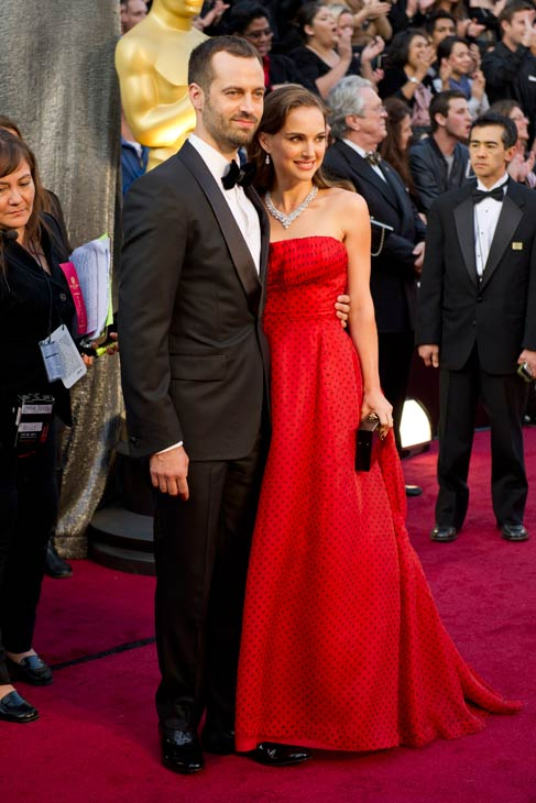 Natalie Portman and Benjamin Millepied attend the 2012 Academy Awards on February 26, 2012.