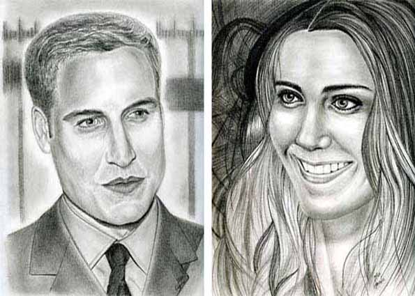 Portraits of Prince William and Kate Middleton...