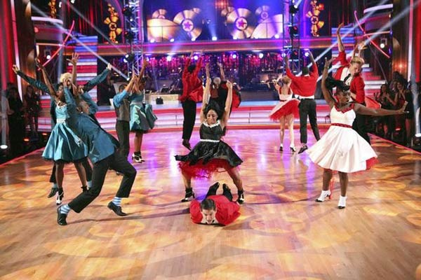 A professional dance group appears on 'Dancing With The Stars: The Results Show' on Tuesday, May 8, 2012.