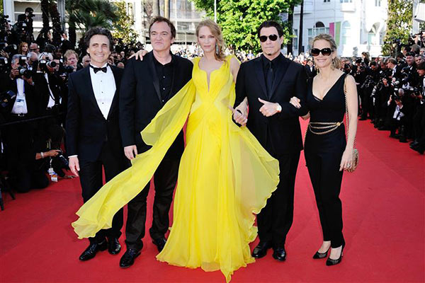 From left, producer Laurence Bender, director Quentin Tarantino, actress Uma Thurman, actor John Travolta and his wife Kelly Preston arrive for the screening of &#39;Clouds of Sils Maria&#39; at the Cannes Film Festival in France on May 23, 2014. The former four worked on &#39;Pulp Fiction,&#39; which marks its 20th anniversary in October. <span class=meta>(Aurore Marechal &#47; ABACA &#47; Startraksphoto.com)</span>
