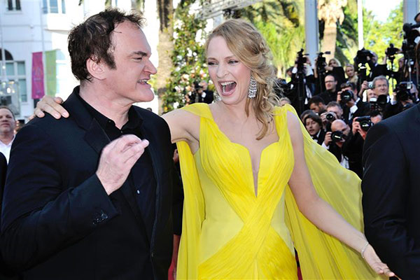 Director Quentin Tarantino and actress Uma Thurman arrive for the screening of 'Clouds of Sils Maria' at the Cannes Film Festival in France on May 23, 2014. He directed the actress in 'Pulp Fiction,' which marks its 20th anniversary in October.
