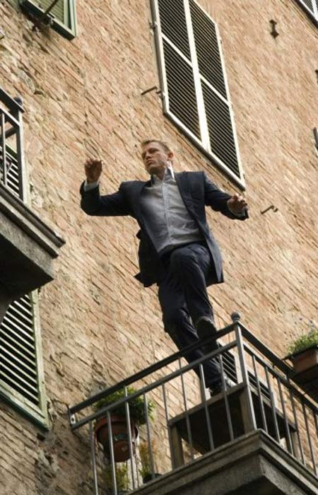 "<div class=""meta image-caption""><div class=""origin-logo origin-image ""><span></span></div><span class=""caption-text"">Daniel Craig does most of his stunts, the UK newspaper The Guardian reported in 2008. Gary Powell, chief stunt coordinator for 'Quantum of Solace' (2008) and 'Casino Royale' (2006) said that even though Craig is not a lover of heights, he still jumped out of a three-story building on to the top of a moving bus in 'Quantum of Solace.' Craig believes if people are paying to see him in these action films, he wants the audience to know that it's him doing it.(Pictured: Daniel Craig appears in a scene from the 2008 film 'Quantum of Solace.') (MGM)</span></div>"