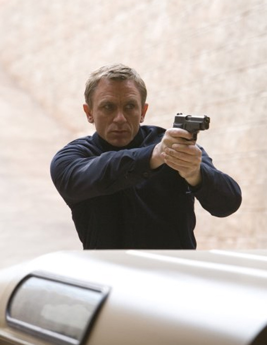 While Daniel Craig played characters that used guns in films such as &#39;Layer Cake&#39; &#40;2004&#41;, &#39;Quantum of Solace&#39; &#40;2008&#41;, and &#39;Casino Royale&#39; &#40;2006&#41;, he told Britain&#39;s OK! Magazine in October of 2005 that he is actually afraid of them. He was petrified after seeing a real bullet wound and has since been terrified of guns.&#40;Pictured: Pictured: Daniel Craig appears in a scene from the 2008 film &#39;Quantum of Solace.&#39;&#41; <span class=meta>(MGM)</span>