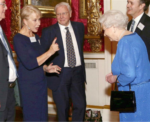 Dame Helen Mirren chats with Queen Elizabeth II at the Reception for the Dramatic Arts at Buckingham Palace on Feb. 17, 2014. The actress won an Oscar for playing the monarch in the 2006 movie &#39;The Queen.&#39; She also received an Emmy for her performance in the 2005 series &#39;Elizabeth I.&#39; <span class=meta>(Rex Features &#47; Startraksphoto.comRex Features &#47; Startraksphoto.com)</span>