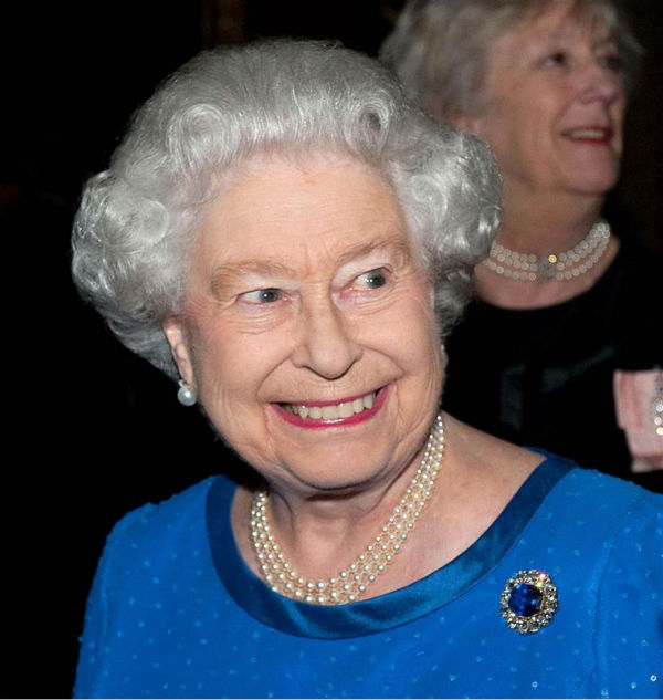 Queen Elizabeth II appears at the Reception for the Dramatic Arts at Buckingham Palace on Feb. 17, 2014. <span class=meta>(Rex Features &#47; Startraksphoto.com)</span>