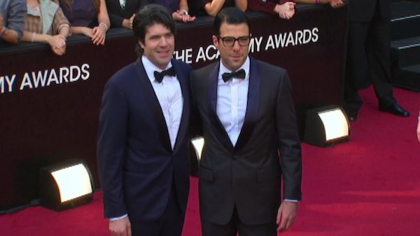 Zachary Quinto and fellow actor J.C. Chandor appear at the Academy Awards on Feb. 26, 2012.