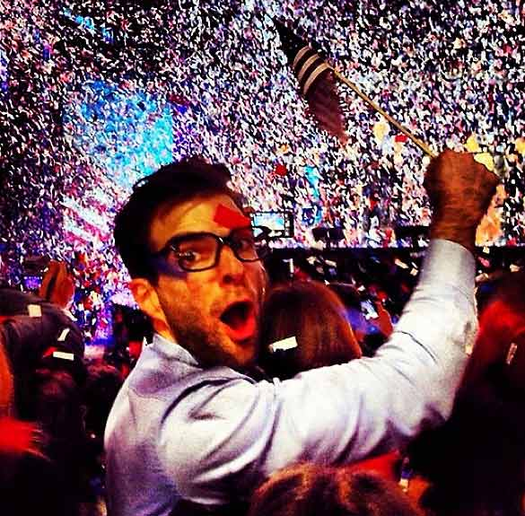 Zachary Quinto rejoices after President Barack Obama is re-elected on Nov. 6, 2012.