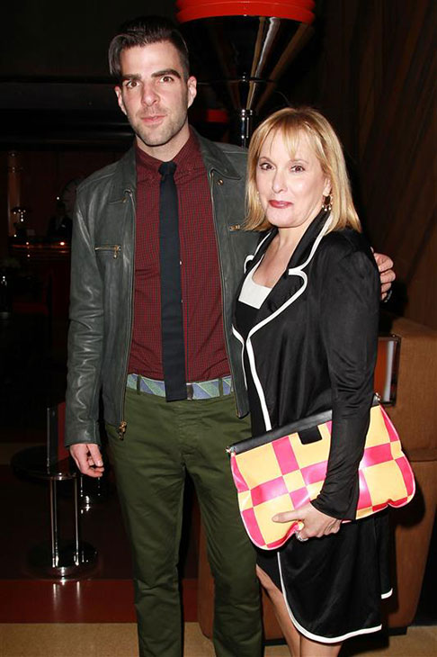 Zachary Quinto poses with his mother, Margo Quinto, on the red carpet during the opening night of the Broadway musical &#39;Kinky Boots&#39; at the Al Hirschfeld Theatre in New York on April 4, 2013. <span class=meta>(Kristina Bumphrey &#47; Startraksphoto.com)</span>