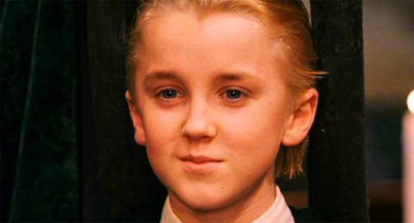Draco Malfoy (Tom Felton) appears in a scene...