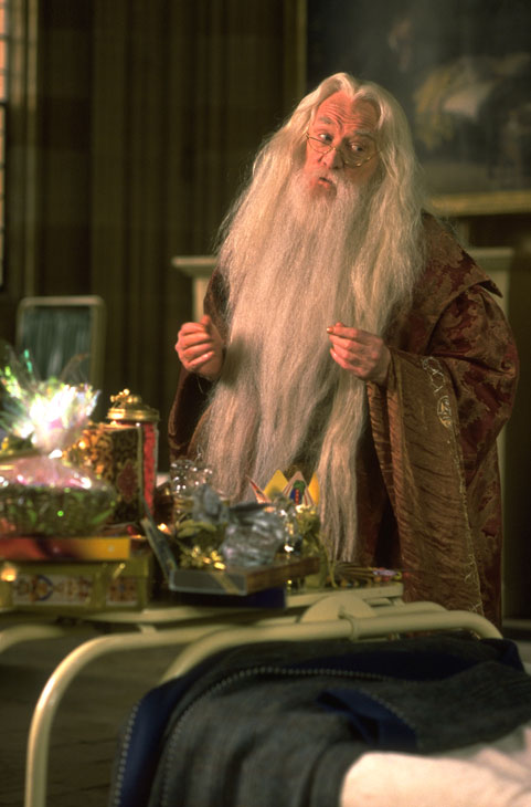 Professor Albus Dumbledore (Richard Harris) appears in a scene from the 2001 film 'Harry Potter and the Sorcerer's Stone,' also called 'Harry Potter and the Philosopher's Stone.'