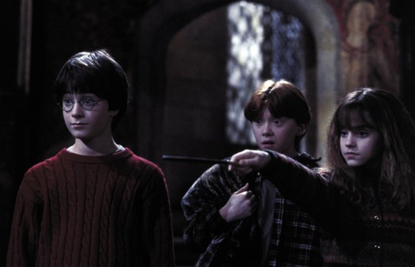 Harry Potter &#40;Daniel Radcliffe&#41;, Ron Weasley &#40;Rupert Grint&#41; and Hermione Granger &#40;Emma Watson&#41; appear in a scene from the 2001 film &#39;Harry Potter and the Sorcerer&#39;s Stone,&#39; also called &#39;Harry Potter and the Philosopher&#39;s Stone.&#39; <span class=meta>(Warner Bros. Pictures)</span>