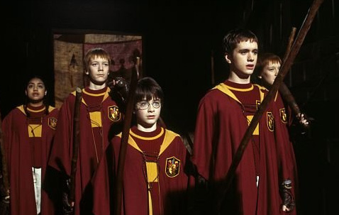 "<div class=""meta ""><span class=""caption-text "">Harry Potter (Daniel Radcliffe) and his Quidditch teammates appear in a scene from the 2001 film 'Harry Potter and the Sorcerer's Stone,' also called 'Harry Potter and the Philosopher's Stone.' (Warner Bros. Pictures)</span></div>"