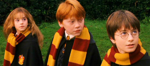 Hermione Granger &#40;Emma Watson&#41;, Harry Potter &#40;Daniel Radcliffe&#41; and Ron Weasley &#40;Rupert Grint&#41; appear in a scene from the 2001 film &#39;Harry Potter and the Sorcerer&#39;s Stone,&#39; also called &#39;Harry Potter and the Philosopher&#39;s Stone.&#39; <span class=meta>(Warner Bros. Pictures)</span>