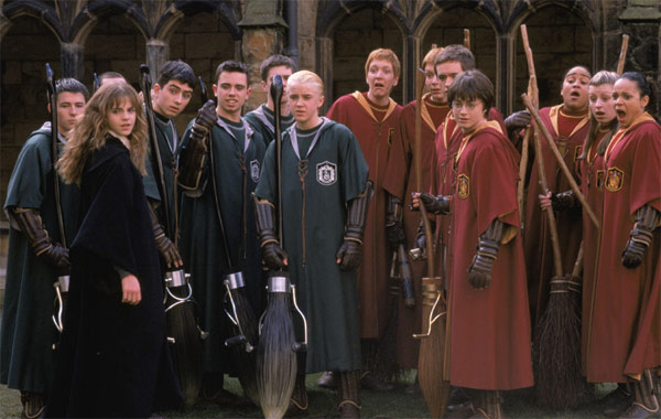 Hermione Granger &#40;Emma Watson&#41;, Draco Malfoy &#40;Tom Felton&#41;, Harry Potter &#40;Daniel Radcliffe&#41;, twins Fred and George Weasley &#40;James and Oliver Phelps&#41; and the rest of the Gryffindor and Slytherin students of Hogwarts School of Witchcraft and Wizardry appear in a scene from the 2002 film &#39;Harry Potter and the Chamber of Secrets.&#39; <span class=meta>(Warner Bros. Pictures)</span>