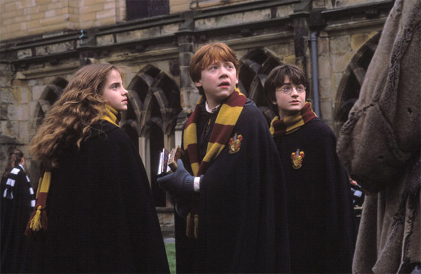 Hermione Granger &#40;Emma Watson&#41;, Ron Weasley &#40;Rupert Grint&#41; and Harry Potter &#40;Daniel Radcliffe&#41; appear in a scene from the 2002 film &#39;Harry Potter and the Chamber of Secrets.&#39; <span class=meta>(Warner Bros. Pictures)</span>