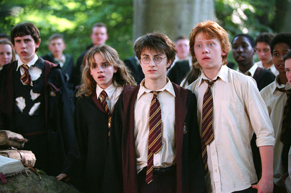 Neville Longbottom (Matthew Lewis), Hermione Granger (Emma Watson), Harry Potter (Daniel Radcliffe) and Ron Weasley (Rupert Grint) appear in a scene from the 2002 film 'Harry Potter and the Chamber of Secrets.'