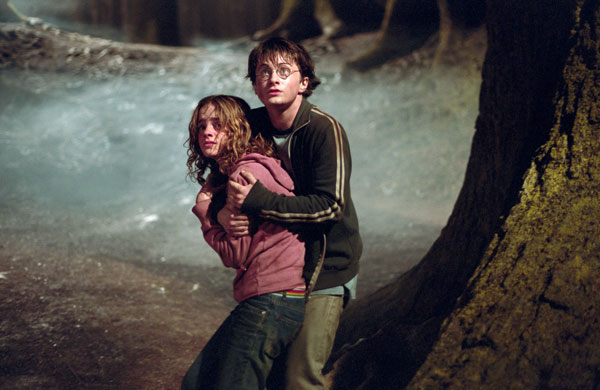 Hermione Granger (Emma Watson), Ron Weasley (Rupert Grint) and Harry Potter (Daniel Radcliffe) appear in a scene from the 2002 film 'Harry Potter and the Chamber of Secrets.'