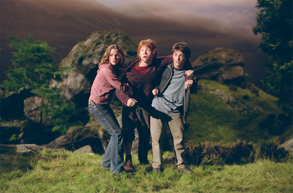 Hermione Granger &#40;Emma Watson&#41;, Ron Weasley &#40;Rupert Grint&#41; and Harry Potter &#40;Daniel Radcliffe&#41; appear in a scene from the 2004 film &#39;Harry Potter and the Prisoner of Azkaban.&#39; <span class=meta>(Warner Bros. Pictures)</span>