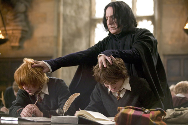 Ron Weasley &#40;Rupert Grint&#41;, Harry Potter &#40;Daniel Radcliffe&#41; and Professor Severus Snape &#40;Alan Rickman&#41; appear in a scene from the 2005 film &#39;Harry Potter and the Goblet of Fire.&#39; <span class=meta>(Warner Bros. Pictures)</span>