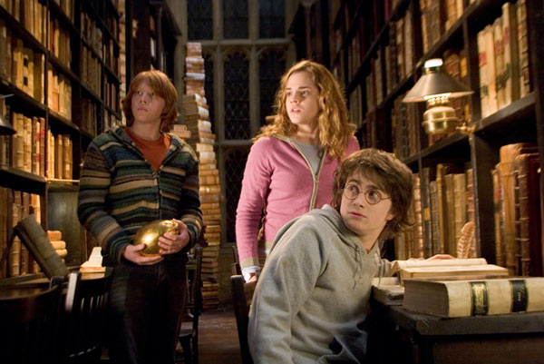 Ron Weasley &#40;Rupert Grint&#41;, Hermione Granger &#40;Emma Watson&#41; and Harry Potter &#40;Daniel Radcliffe&#41; appear in a scene from the 2005 film &#39;Harry Potter and the Goblet of Fire.&#39; <span class=meta>(Warner Bros. Pictures)</span>