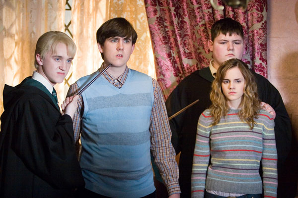 Draco Malfoy &#40;Tom Felton&#41;, Neville Longbottom &#40;Matthew Lewis&#41;, Vincent Crabbe &#40;Jamie Waylett&#41; and Hermione Granger &#40;Emma Watson&#41; appear in a scene from the 2007 film &#39;Harry Potter and the Order of the Phoenix.&#39; <span class=meta>(Warner Bros. Pictures)</span>