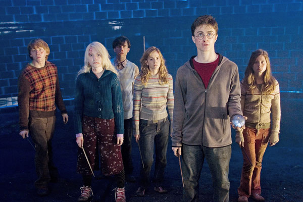 Ron Weasley &#40;Rupert Grint&#41;, Luna Lovegood &#40;Evanna Lynch&#41;, Neville Longbottom &#40;Matthew Lewis&#41;, Hermione Granger &#40;Emma Watson&#41;, Harry Potter &#40;Daniel Radcliffe&#41; and Ginny Weasley &#40;Bonnie Wright&#41; appear in a scene from the 2007 film &#39;Harry Potter and the Order of the Phoenix.&#39; <span class=meta>(Warner Bros. Pictures)</span>