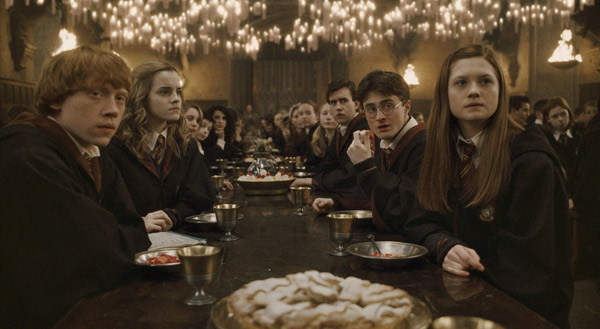 Ron Weasley &#40;Rupert Grint&#41;, Hermione Granger &#40;Emma Watson&#41;, Neville Longbottom &#40;Matthew Lewis&#41;, Harry Potter &#40;Daniel Radcliffe&#41; and Ginny Weasley &#40;Bonnie Wright&#41; appear in a scene from the 2009 film &#39;Harry Potter and the Half-Blood Prince.&#39; <span class=meta>(Warner Bros. Pictures)</span>