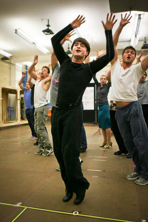 Daniel Radcliffe rehearses for the &#39;How to Succeed in Business Without Really Trying,&#39; which marks his Broadway musical debut. The show opens officially on March 27, 2011 at the  Al Hirschfeld Theatre. &#40;Pictured: Daniel Radcliffe and &#39;How to Succeed&#39; cast in rehearsal.&#41; <span class=meta>(Photo courtesy of facebook.com&#47;H2SBway &#47; Ari Mintz)</span>