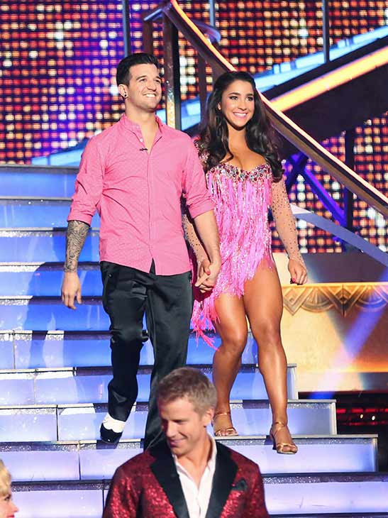 Olympic gymnast Aly Raisman and her partner Mark Ballas prepare to dance on the season 16 premiere of 'Dancing With The Stars,' which aired on March 18, 2013. They received 21 out of 30 points from the judges for their Cha Cha Cha routine.