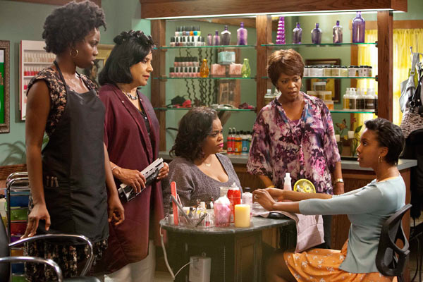 L to R: Adepero Oduye (Annelle), Phylicia Rashad (Clariee), Jill Scott (Truvy), Alfre Woodard (Ouiser) and Condola Rashad (Shelby) star in the all-new  Lifetime Original Movie, 'Steel Magnolias,' premiering on Lifetime on Oct. 7, 2012.