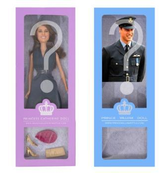 Plastic dolls depicting Prince William and Kate...