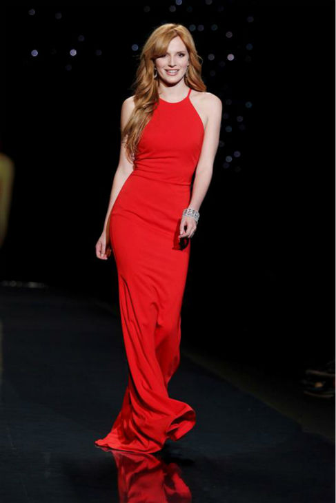 Bella Thorne of the Disney Channel show &#39;Shake It Up!&#39; &#40;wearing Badgley Mischka&#41; walks the runway at the Go Red For Women&#47;The Heart Truth Red Dress 2014 Collection fashion show during Mercedes-Benz Fashion Week in New York on Feb. 6, 2014. <span class=meta>(Amanda Schwab &#47; Startraksphoto.com)</span>