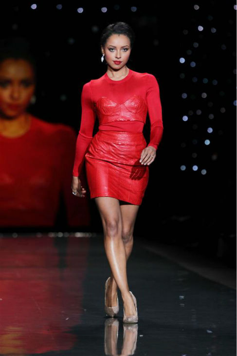 "<div class=""meta image-caption""><div class=""origin-logo origin-image ""><span></span></div><span class=""caption-text"">'The Vampire Diaries' actress Kat Graham (wearing Mathieu Marino) walks the runway at the Go Red For Women/The Heart Truth Red Dress 2014 Collection fashion show during Mercedes-Benz Fashion Week in New York on Feb. 6, 2014. (Amanda Schwab / Startraksphoto.com)</span></div>"