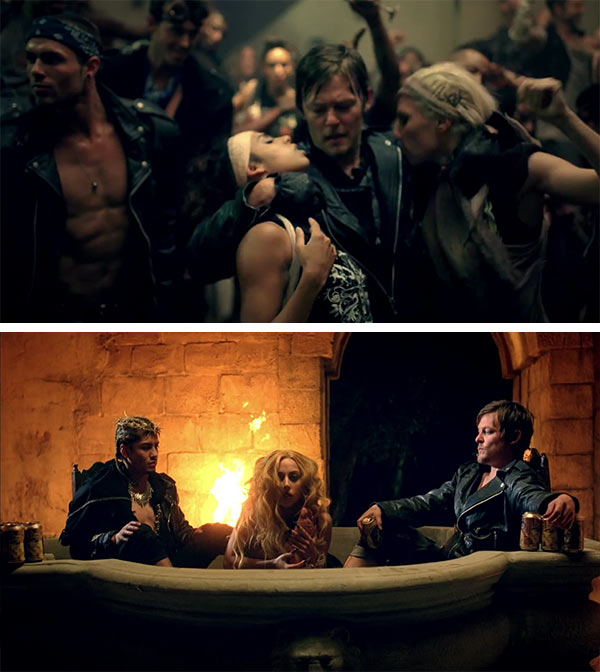 Norman Reedus &#40;&#39;The Walking Dead&#39;s Daryl Dixon&#41; has appeared in several music videos. In 2011, he appeared in Lady Gaga&#39;s &#39;Judas&#39; clip &#40;watch video&#41;. <span class=meta>(Interscope Records)</span>