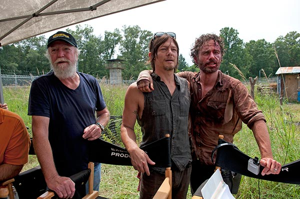 Scott Wilson (Hershel Greene), Norman Reedus (Daryl Dixon) and Andrew Lincoln (Rick Grimes) appear on the set of AMC's 'The Walking Dead's season 4 midseason finale, which aired on Dec. 1, 2013.