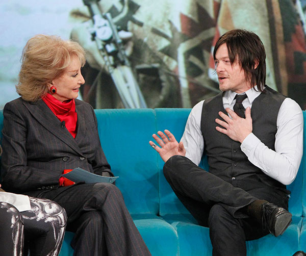 "<div class=""meta image-caption""><div class=""origin-logo origin-image ""><span></span></div><span class=""caption-text"">Norman Reedus, who plays Daryl Dixon on AMC's 'The Walking Dead,' is interviewed by Barbara Walters on the ABC show 'The View' on Nov. 26, 2013. (ABC / Lou Rocco)</span></div>"